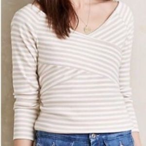 ANTRHOPOLOGIE DELETTA STRIPED OFF SHOULDER TOP S.